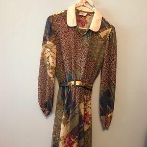 Sheer Patchwork Vintage Dress